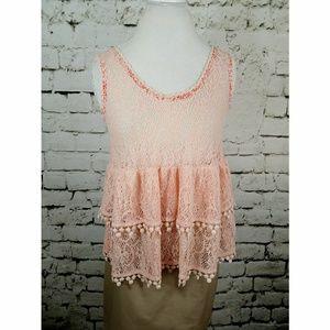 Free People Peach lace layered tank sz M